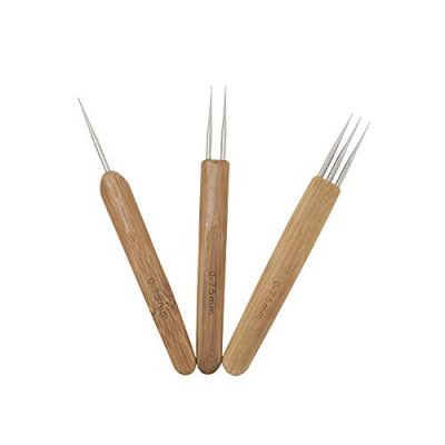 Sopplea 3 PCS 0.75mm Dreadlock Crochet Needle Hooks Bamboo Handle with Stainless Steel Micro Crochet Hook for Dreadlock Braiding Hair Making Tools One Head Double Head Triple Head - image 311TTHAZfaL-400x400 on https://knitting-crocheting-yarn.com