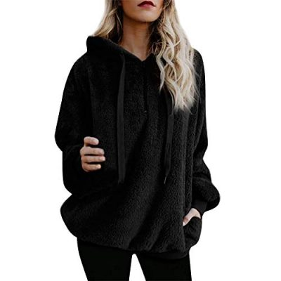 Kobay Womens Christmas Tops, Ladies' Hooded Sweatshirt Coat Winter Warm Wool Zipper Pockets Cotton Coat Outwear Blouse Fashion Loose Clothes Yours Clothing Gifts for Women T-Shirt Pullover - image 41+idqPipLL-400x400 on https://knitting-crocheting-yarn.com