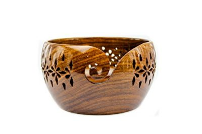 Rosewood Crafted Wooden Yarn Storage Bowl with Carved Holes & Drills | Knitting Crochet Accessories | Nagina International (Large) - image 41PAmS5MsmL-400x266 on https://knitting-crocheting-yarn.com