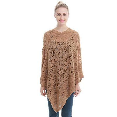 Womens Cape Shawl Wrap,Casual Knitted V Neck Poncho Blanket Pullover Crochet Patterns Ladies - image 41PG4nBeTdL-400x400 on https://knitting-crocheting-yarn.com