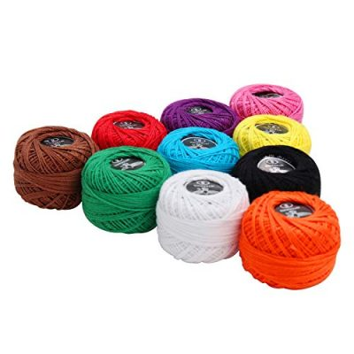 10 Pack Crochet Cotton Yarn Thread by Kurtzy- Plain Design in an Assortment of Colours - Threads for Knitting, Projects and Applique - 5 Grams - 47 Metres of Thread - High Quality Material - image 41RDt5aVbPL-400x400 on https://knitting-crocheting-yarn.com