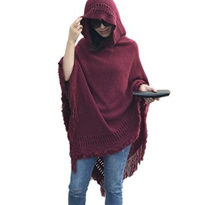 QQI Ladies' Hooded Cape with Fringed Hem, Crochet Poncho Knitting Patterns for Women 135-175cm - image 41VKcczg1vL-400x400 on https://knitting-crocheting-yarn.com