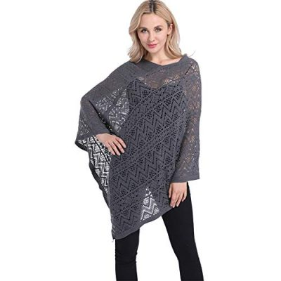 Womens Cape Shawl Wrap,Casual Knitted V Neck Poncho Blanket Pullover Crochet Patterns Ladies - image 41YqpNG+OIL-400x400 on https://knitting-crocheting-yarn.com