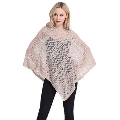 Womens Cape Shawl Wrap,Casual Knitted V Neck Poncho Blanket Pullover Crochet Patterns Ladies - image 41rDZgWNO+L-400x400 on https://knitting-crocheting-yarn.com