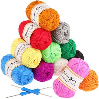 Fuyit Double Knitting Yarn 12x50g 100% Acrylic with 2 Crochet Hooks 1200 Meters Balls of Assorted DK Yarn Set Colourful Chunky - image 510+MY2HG3L-400x400 on https://knitting-crocheting-yarn.com