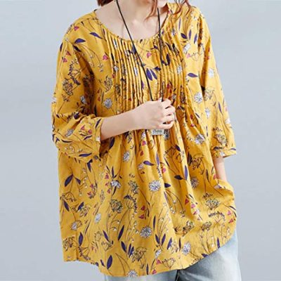 Lazzboy Womens Tops Blouse 3/4 Long Sleeve Linen Ladies Floral Print Loose Casual Pullover Shirt - image 513g-QtMgEL-400x400 on https://knitting-crocheting-yarn.com