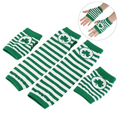 St. Patrick's Day Accessories Costume Gloves Shamrock Fingerless Arm Warmers Unisex - 2 Pair - image 514CY2ZVECL-400x400 on https://knitting-crocheting-yarn.com