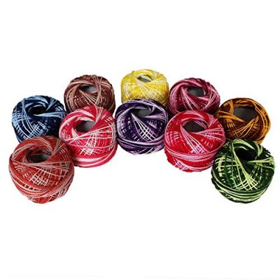 Variegated Crochet Yarn 10 Pcs - Knitting Cotton Yarn with 5grams / 8 Size of each Balls – Embroidery Pearl Yarns are Ombre and Striped Effect for Cross-Stitch, Tatting, Flower Pattern & DIY Craft - image 5158J-AxDvL-400x400 on https://knitting-crocheting-yarn.com