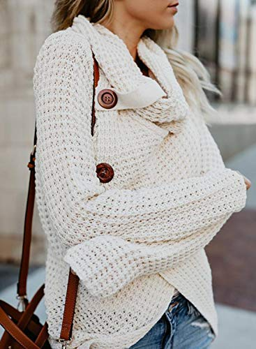 Yidarton Women's Jumper Knitted Sweater Loose Turtleneck Solid Warm Asymmetrical Wrap Pullover Long Sleeve Tops - image 515EaSVjhCL on https://knitting-crocheting-yarn.com