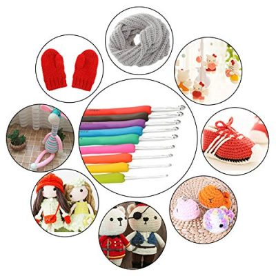 TIMESETL 72pcs Ergonomic Crochet Hooks Set with Complete Crochet Knitting Accessories & Double Zipped Case for Beginner - image 516OwbQtu2L-400x400 on https://knitting-crocheting-yarn.com