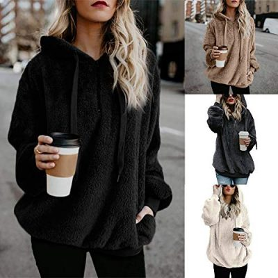Kobay Womens Christmas Tops, Ladies' Hooded Sweatshirt Coat Winter Warm Wool Zipper Pockets Cotton Coat Outwear Blouse Fashion Loose Clothes Yours Clothing Gifts for Women T-Shirt Pullover - image 517hNKvLkYL-400x400 on https://knitting-crocheting-yarn.com