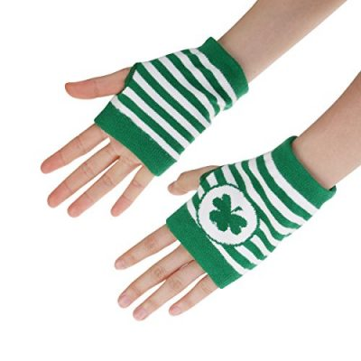 St. Patrick's Day Accessories Costume Gloves Shamrock Fingerless Arm Warmers Unisex - 2 Pair - image 518VDblcQoL-400x400 on https://knitting-crocheting-yarn.com