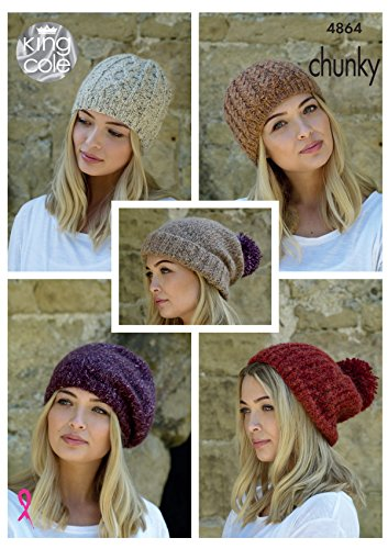 King Cole Ladies Chunky Knitting Pattern Womens Hats - Slouchy Rib or Cable Hat & Beret (4864) - image 51FSO6rxrOL on https://knitting-crocheting-yarn.com