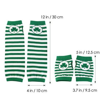 St. Patrick's Day Accessories Costume Gloves Shamrock Fingerless Arm Warmers Unisex - 2 Pair - image 51GdmlRAxCL-400x400 on https://knitting-crocheting-yarn.com