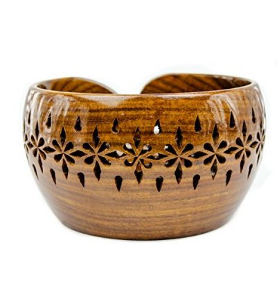 Rosewood Crafted Wooden Yarn Storage Bowl with Carved Holes & Drills   Knitting Crochet Accessories   Nagina International (Large) - image 51HzjSpOOIL-400x408 on https://knitting-crocheting-yarn.com