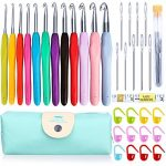 TIMESETL 72pcs Ergonomic Crochet Hooks Set with Complete Crochet Knitting Accessories & Double Zipped Case for Beginner - image 51MA8makXJL-150x150 on https://knitting-crocheting-yarn.com