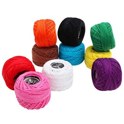 10 Pack Crochet Cotton Yarn Thread by Kurtzy- Plain Design in an Assortment of Colours - Threads for Knitting, Projects and Applique - 5 Grams - 47 Metres of Thread - High Quality Material - image 51MR06tPQOL-400x400 on https://knitting-crocheting-yarn.com