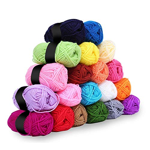 20 x 25g Piece Multicolour Knitting Crochet Yarn Set of 75 Meters with 2 x hooks