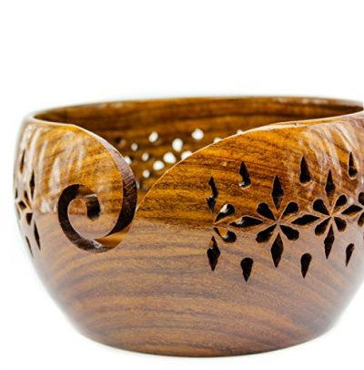 Rosewood Crafted Wooden Yarn Storage Bowl with Carved Holes & Drills | Knitting Crochet Accessories | Nagina International (Large) - image 51N+MOaV28L-400x406 on https://knitting-crocheting-yarn.com