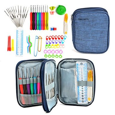 TIMESETL 72pcs Ergonomic Crochet Hooks Set with Complete Crochet Knitting Accessories & Double Zipped Case for Beginner - image 51NJ2yEYxAL-400x400 on https://knitting-crocheting-yarn.com