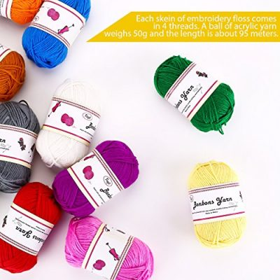 Fuyit Double Knitting Yarn 12x50g 100% Acrylic with 2 Crochet Hooks 1200 Meters Balls of Assorted DK Yarn Set Colourful Chunky - image 51NfGXzHWUL-400x400 on https://knitting-crocheting-yarn.com