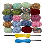 PP OPOUNT 30 Roll Acrylic Yarn Skeins, 1650 Yards Crochet Craft Yarn with Reusable Canvas Bag Includes 2 Crochet Hooks, 2 Pieces Weaving Needles, 3 Pieces Locking Stitch Markers for Crochet, Knitting - image 51P2UnZ6vCL-150x150 on https://knitting-crocheting-yarn.com