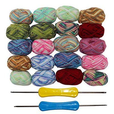 20 x 25g Piece Multicolour Knitting Crochet Yarn Set of 75 Meters with 2 x crochet hooks - Assortment Colourful Acrylic Soft Yarn - Thick Yarn Bundle for Knitting Jumpers, Cardigans, Clothes, Blankets - image 51P2UnZ6vCL-400x400 on https://knitting-crocheting-yarn.com