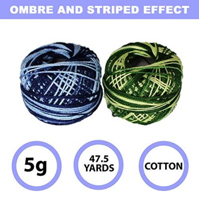 Variegated Crochet Yarn 10 Pcs - Knitting Cotton Yarn with 5grams / 8 Size of each Balls – Embroidery Pearl Yarns are Ombre and Striped Effect for Cross-Stitch, Tatting, Flower Pattern & DIY Craft - image 51QxD0FZbnL-400x400 on https://knitting-crocheting-yarn.com
