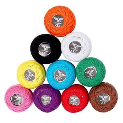 10 Pack Crochet Cotton Yarn Thread by Kurtzy- Plain Design in an Assortment of Colours - Threads for Knitting, Projects and Applique - 5 Grams - 47 Metres of Thread - High Quality Material - image 51TWq-MTw8L-400x400 on https://knitting-crocheting-yarn.com