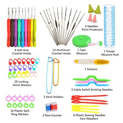 TIMESETL 72pcs Ergonomic Crochet Hooks Set with Complete Crochet Knitting Accessories & Double Zipped Case for Beginner - image 51WeL6VYx9L-400x400 on https://knitting-crocheting-yarn.com