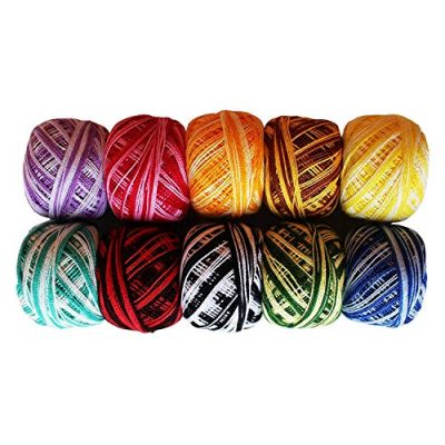 Variegated Crochet Yarn 10 Pcs - Knitting Cotton Yarn with 5grams / 8 Size of each Balls – Embroidery Pearl Yarns are Ombre and Striped Effect for Cross-Stitch, Tatting, Flower Pattern & DIY Craft - image 51ZCV040ifL-400x400 on https://knitting-crocheting-yarn.com