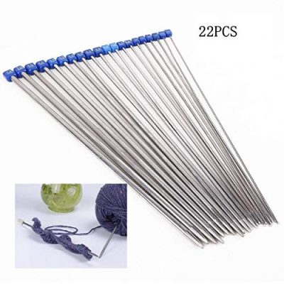 Dproptel Knitting Needles,Stainless Steel Single Pointed Knitting Needles Kit Set Sweater Staight Needle in Different Sizes (11pirs,22pcs,36cm Length) - image 51a4WLjuL4L-400x400 on https://knitting-crocheting-yarn.com