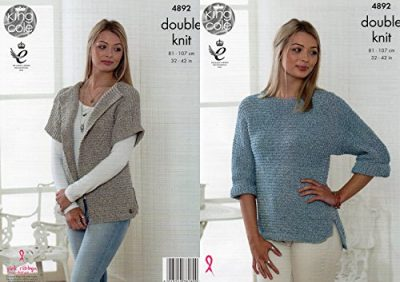 King Cole Ladies Double Knitting Pattern Womens Cardigan & Batwing Sleeve Sweater (4892) - image 51aCxL3ePAL-400x282 on https://knitting-crocheting-yarn.com