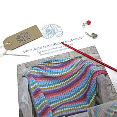 Vintage Rainbow Blanket Crochet Kit - the perfect gift for crochet lovers - everything you need to make this beautiful throw: yarn, crochet pattern, crochet hook, stitch markers and project bag - image 51al5ROTz0L-400x400 on https://knitting-crocheting-yarn.com