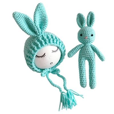 Yeahibaby Newborn Photography Photo Prop Crochet Knitted Toy Rabbit Bunny Hats for Baby Boys Girls (Grey) - image 51gykcL+t-L-400x400 on https://knitting-crocheting-yarn.com