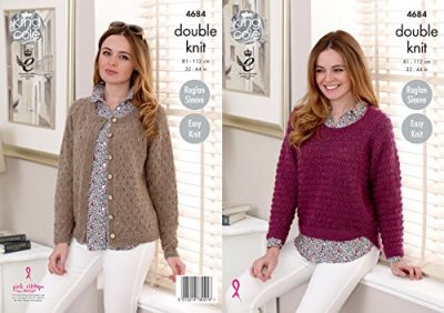 King Cole Ladies Double Knitting DK Pattern Easy Knit Raglan Sleeve Sweater & Cardigan (4684) - image 51jgHR2hSWL-400x282 on https://knitting-crocheting-yarn.com