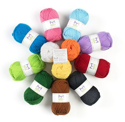 Mira Handcrafts 50g Large Yarn Bonbons – Total of 1200m Knitting and Crochet Yarn – Starter Kit Including 12 Multicolour Yarns and 7 Ebooks with Yarn Wool Patterns - image 51jxfZFyeOL-400x392 on https://knitting-crocheting-yarn.com
