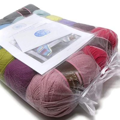 Vintage Rainbow Blanket Crochet Kit - the perfect gift for crochet lovers - everything you need to make this beautiful throw: yarn, crochet pattern, crochet hook, stitch markers and project bag - image 51nAUtA1ZRL-400x400 on https://knitting-crocheting-yarn.com