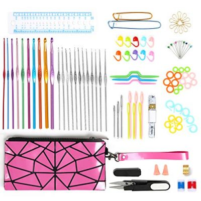 Norjews Crochet Hooks Set 100pcs Premium Quality Knitting Tool Accessories with Portable Leather Handbag - Best Gift! - image 51nXZ4x7drL-400x400 on https://knitting-crocheting-yarn.com