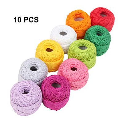 Crochet Yarn - 10 Pcs Knitting Yarn Assorted Colours - Crochet Cotton Yarn Thread 10 Grams/85 Meters - Perfect for Knit Works, Applique, DIY Art and Craft Projects, Glove, Blankets - image 51qtwL9nqGL-400x400 on https://knitting-crocheting-yarn.com