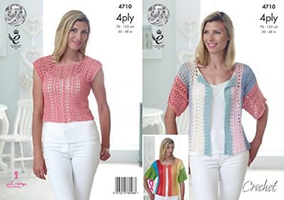King Cole Ladies 4 Ply Crochet Pattern for Cropped Top & Short Sleeved Cardigan (4710) by King Cole - image 51r45iK0c9L-400x282 on https://knitting-crocheting-yarn.com