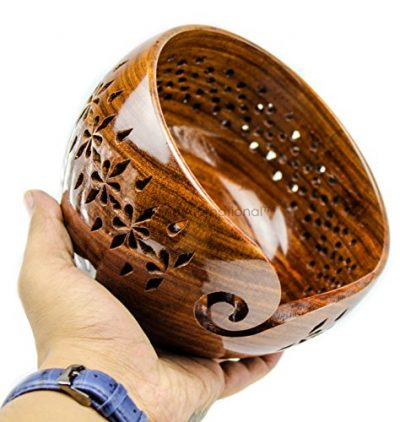 Rosewood Crafted Wooden Yarn Storage Bowl with Carved Holes & Drills | Knitting Crochet Accessories | Nagina International (Large) - image 51r6XFw9P5L-400x422 on https://knitting-crocheting-yarn.com