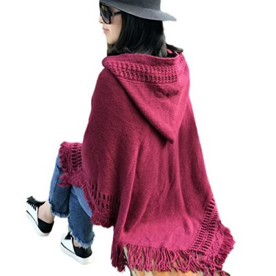QQI Ladies' Hooded Cape with Fringed Hem, Crochet Poncho Knitting Patterns for Women 135-175cm - image 51t0MXMLvNL-400x400 on https://knitting-crocheting-yarn.com