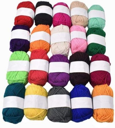 RayLineDo® Pack 20 x 25g Ball Assorted Colors 100% Acrylic Knitting Yarn Crochet Crafts Total of 900m Colourful Yarn with 3 Crochets - image 51tEwaPVl1L-400x445 on https://knitting-crocheting-yarn.com