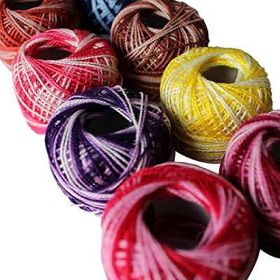 Variegated Crochet Yarn 10 Pcs - Knitting Cotton Yarn with 5grams / 8 Size of each Balls – Embroidery Pearl Yarns are Ombre and Striped Effect for Cross-Stitch, Tatting, Flower Pattern & DIY Craft - image 51u0ruv0q6L-400x400 on https://knitting-crocheting-yarn.com