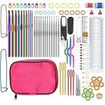 Fanxieast 1Packet(22PCs) Aluminum Crochet Hooks Knitting Kit Needlework Random Color Silver Tone Sewing Needles with Ruler Scissors Tools (Only Crochet Hooks) - image 51ubBYj0e+L-150x150 on https://knitting-crocheting-yarn.com