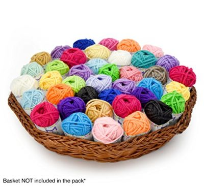 Basic Miniature Yarn Pack – 40 Yarn Bonbon Skeins 100% Acrylic - Total of 875 yards (800 m) Colourful Yarn - Perfect for any Crochet and Knitting Mini Project - image 51wWvCMrA6L-400x370 on https://knitting-crocheting-yarn.com