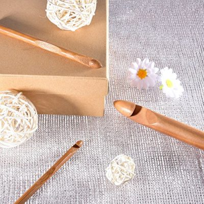 15 Pieces Wooden Bamboo Crochet Hooks Set Handcrafted Knitting Needles Weave Yarn Craft, 3 to 25 mm in Diameters - image 61-yXe76rkL-400x400 on https://knitting-crocheting-yarn.com