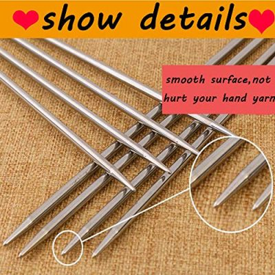Knitting Needles Stainless Steel Single Pointed Knitting Needles Kit Set Tools Supplies in Case - image 616aeW0uNSL-400x400 on https://knitting-crocheting-yarn.com
