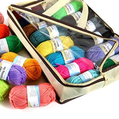 PP OPOUNT 30 Roll Acrylic Yarn Skeins, 1650 Yards Crochet Craft Yarn with Reusable Canvas Bag Includes 2 Crochet Hooks, 2 Pieces Weaving Needles, 3 Pieces Locking Stitch Markers for Crochet, Knitting - image 619qUP8HDSL-400x400 on https://knitting-crocheting-yarn.com